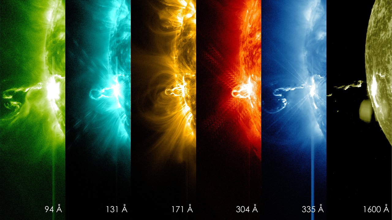 Solar flare in different wavelengths