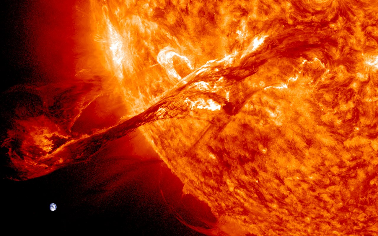 The Earth compared to a solar flare