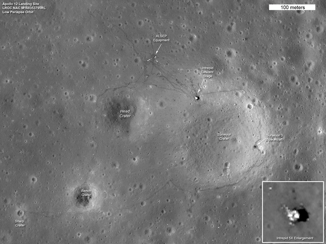 Apollo 12 landing site seen from orbit